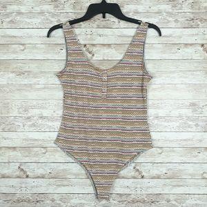 Wild Fable Bodysuit Sleeveless Striped 278